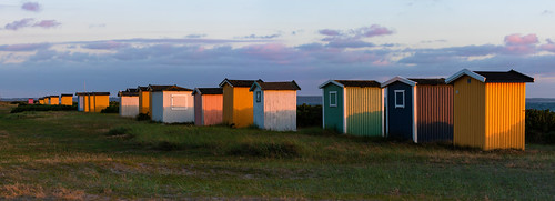 sverige sunset sweden outdoor sea canoneos5dmarkiii summer skåne viken canonef100400mmf4556lisiiusm beachhut scania beach solnedgång coast hav shed skånelän se panorama landscape