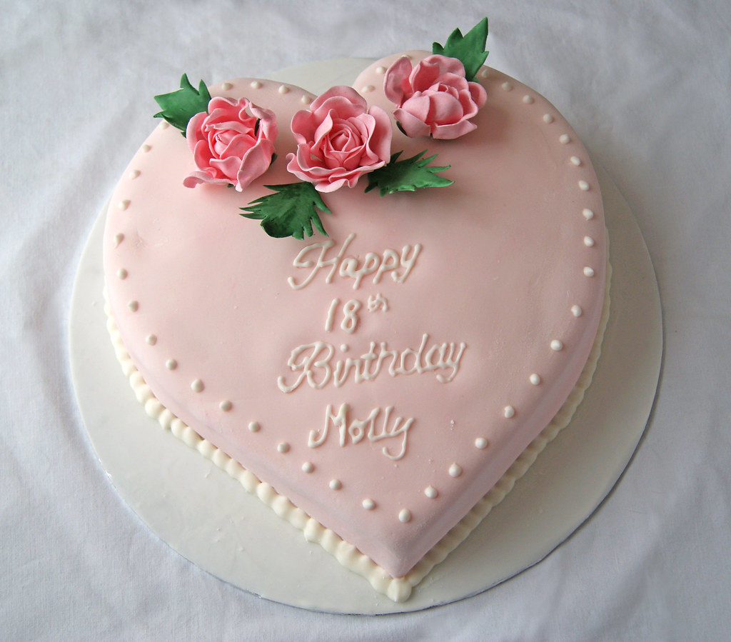 Awesome 18Th Birthday Cake Heart And Rose Themed Cake For An 18Th Flickr Funny Birthday Cards Online Elaedamsfinfo