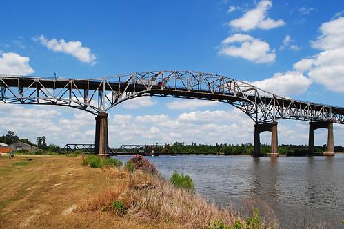 calcasieu river parish louisiana lake charles westlake interstate 10 i10 through truss steel bridge united states north america