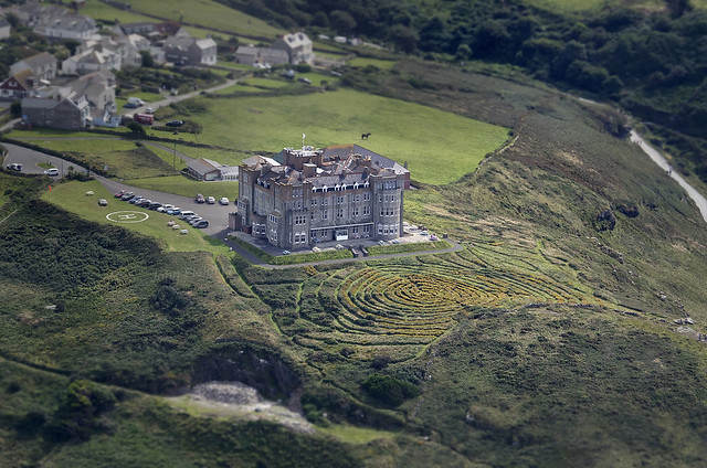 Camelot Castle Hotel in Tintagel aerial view