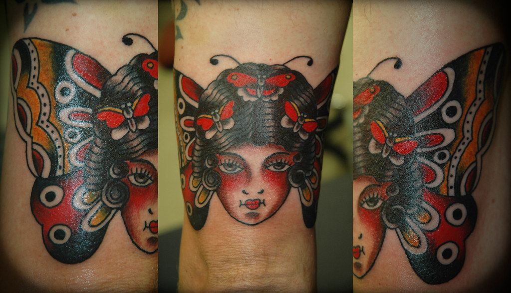 9b3b0e73b ... Butterfly Girl Head Tattoo by KeelHauled Mike of Black Anchor Tattoo.com,  Denton Maryland