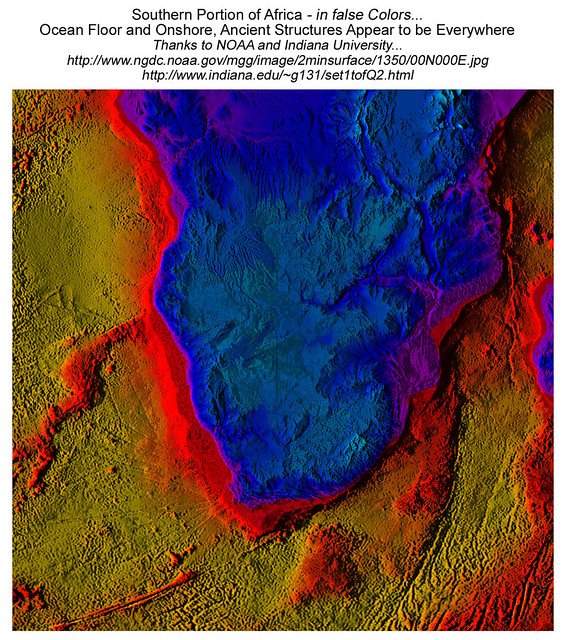 Southern Africa: Ancient Ocean Floor and Onshore Roads, possible Pyramids, Burial Mounds. View at 400%