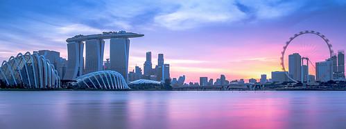 pink blue sunset marina bay singapore dusk sands mbs sg50