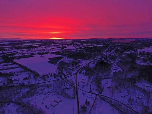 sunrise amazing aerial aerialphotography dronephotography drone drones life beautiful pink glow dji djiphantom4 phantom4 djiphantom winter cold snow snowy skaneateles ny fingerlakes farm rural