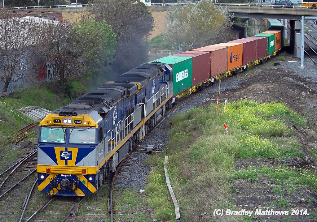 CF4402-CF4404 with 3MC1 Qube freight to Harefield/Junee at West Footscray (20/5/2014) by Bradley Matthews