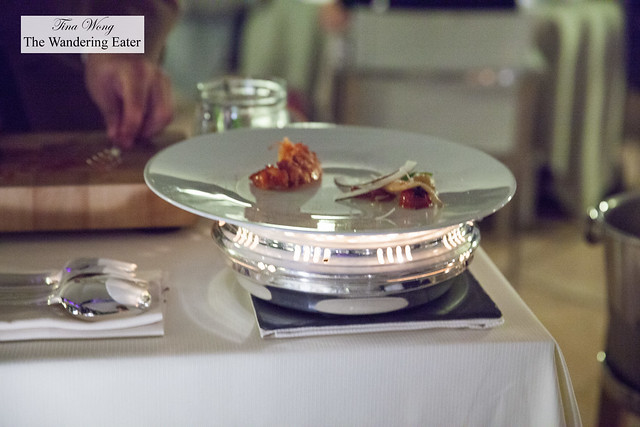 Tableside plating of The Vistamar .Bouillabaisse in two services (part 1)