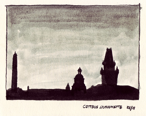 sunset ink sundown drawing gothic stadt florian cottbus schornstein gotik stadtkirche afflerbach