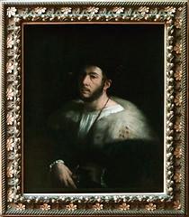 Giovanni di Lutero, known as DOSSO DOSSI Tramuschio (Mirandolo), c. 1486 – Ferrara, 1541-42  Portrait of a Man, formerly known as Portrait of Cesare Borgia c. 1518–20. Louvre