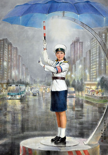 North Korea art  - Pyongyang Traffic Police