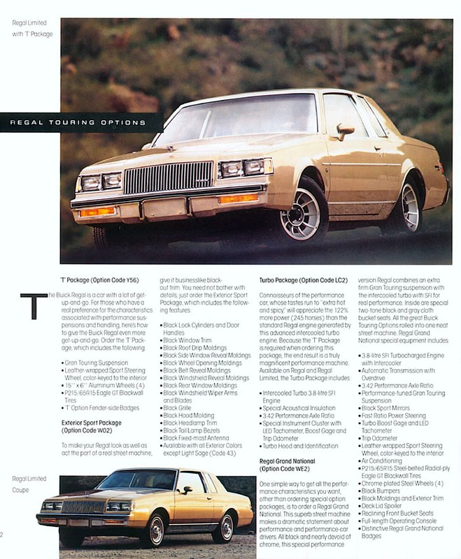 1987 Buick Hot brochure - Regal   Page from a 1987 Buick bro