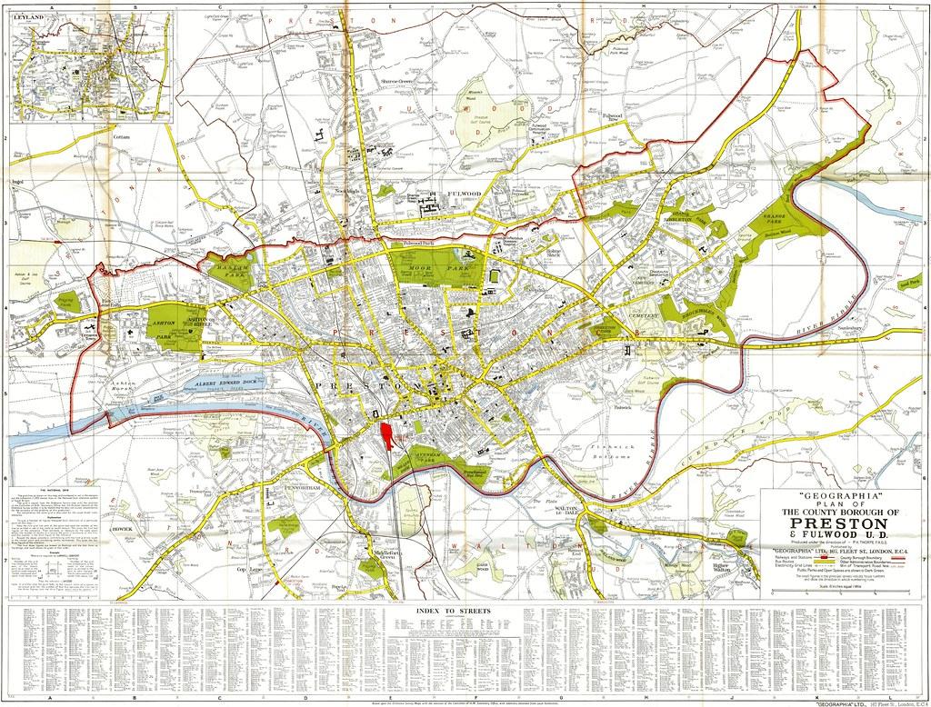 Street Map of Preston & Fulwood 1950 (with street Index