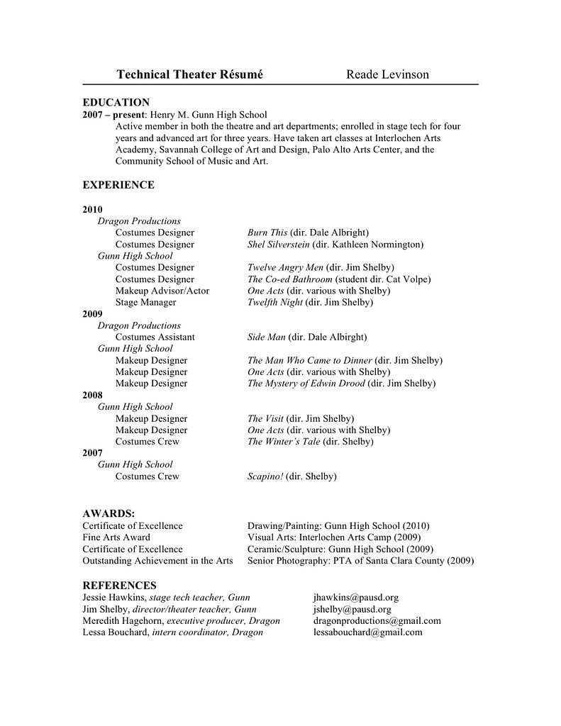 My Technical Theatre Resume