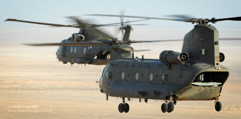 RAF Merlin and Chinook Helicopters During Exercise Desert