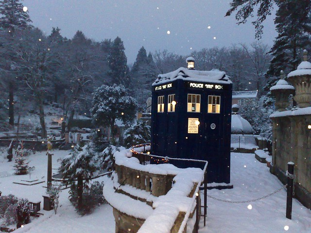 The Tardis lands in Portmeirion in a snowstorm