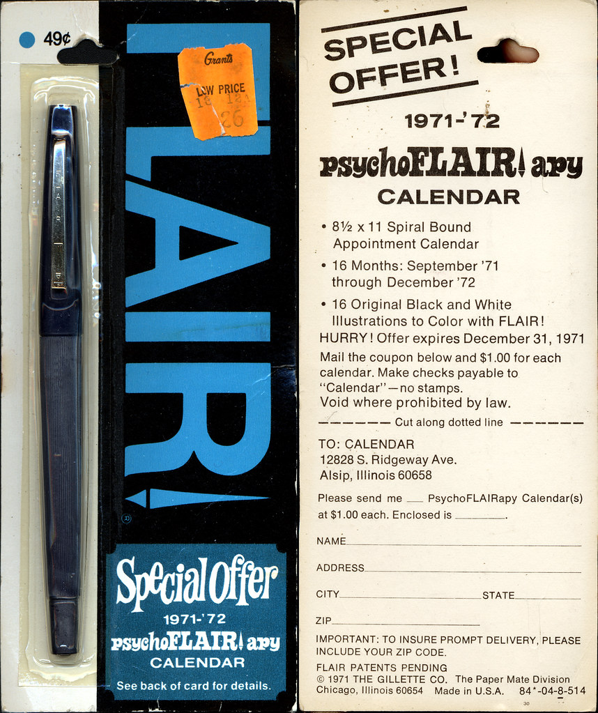 Gillette Flair Pen Blue Psychoflairapy Calendar Pa Flickr