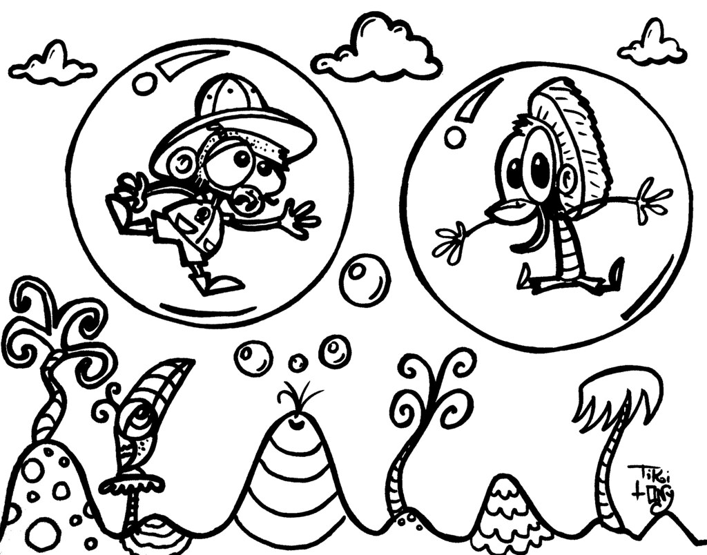 Charly & Pierre stuck in bubble Tiki Monkey Coloring Book   Flickr