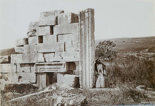 East wall of Roman Temple at Kedesh (Kedes, Kades, Qadis, Kedesh Naphtali) showing the main entrance and one of the side entrances. | by Palestine Exploration Fund