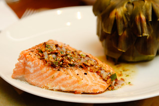 roasted salmon with almond vinaigrette | by wingerz