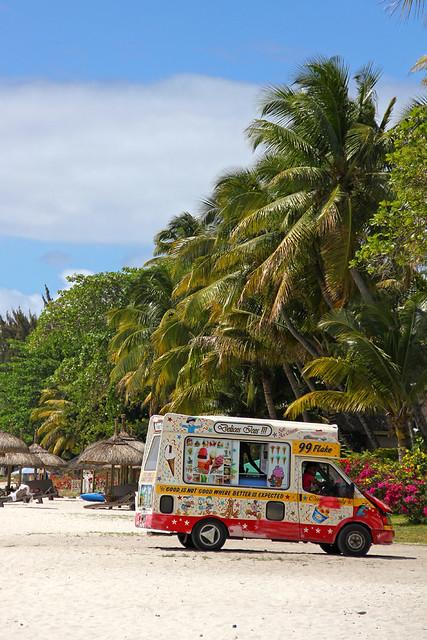 Mauritius - ice cream truck on the beach