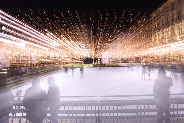 Torino's ice rink by night