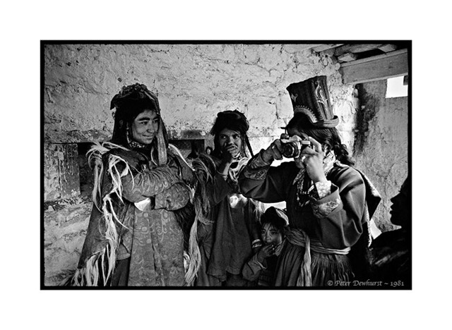 Ladakhi Women Using Tourist's Olympus Camera, Hemis