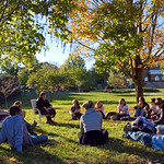 Peacebuilding and development class on the lawn