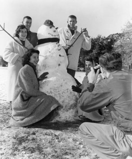 Florida State University Students Gathered Around Their Snowman for a Portrait: Tallahassee, Florida