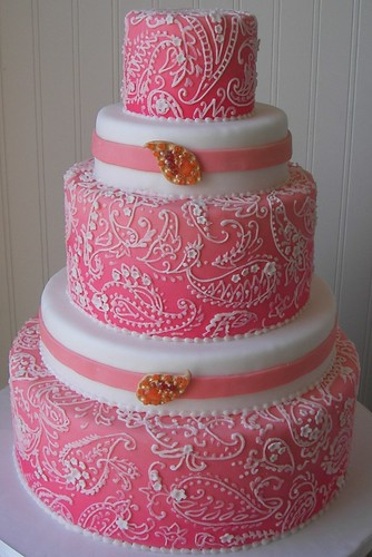 pink paisley wedding cake | by kickass kakes