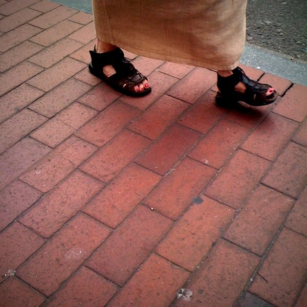 Feet with chunky sandals