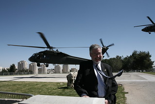 David Addington in Jerusalem, Israel Prepares to Board Helicopter Lift to Ramallah