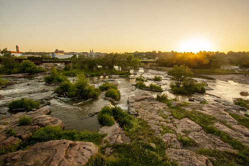 city sunset summer water southdakota river evening midwest dusk falls siouxfalls