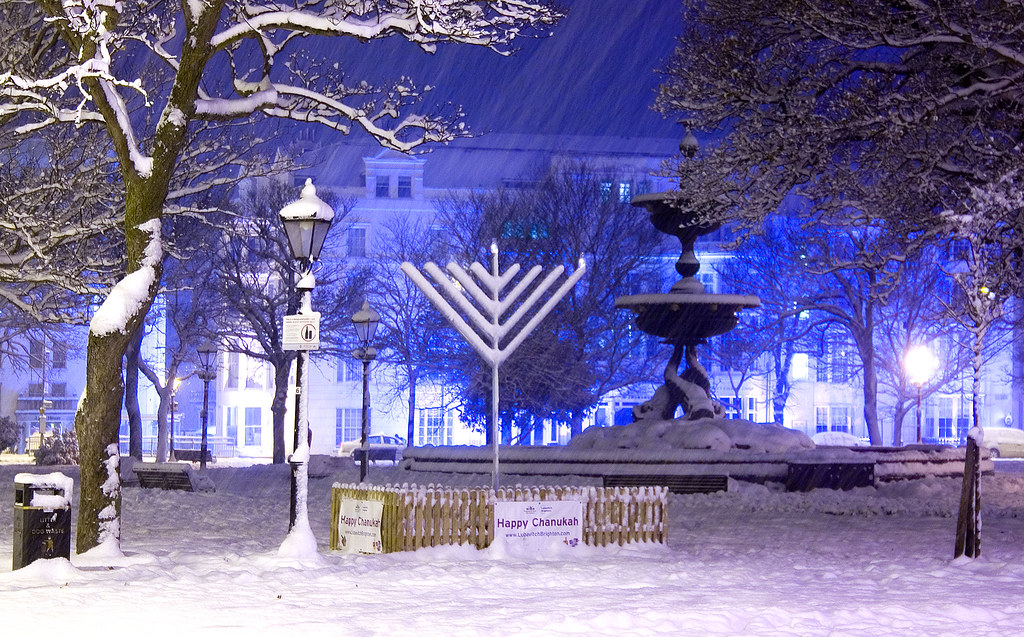 Happy Chanukah: Snow Covered Chanukah Menorah