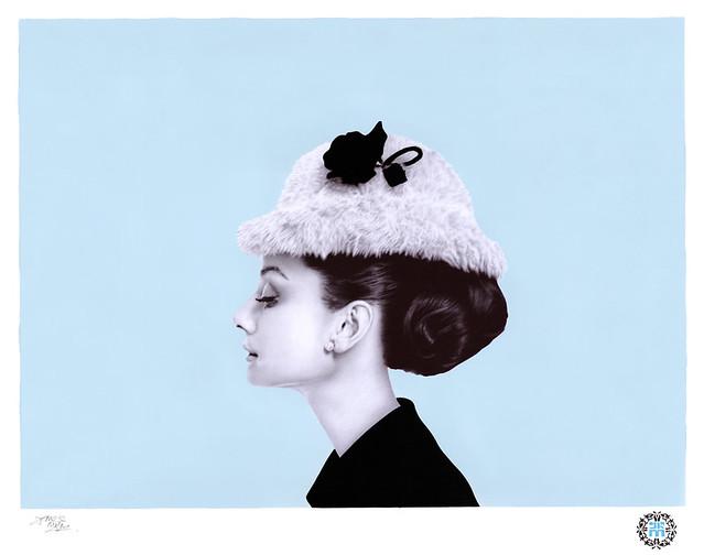 Audrey Hepburn, ballpoint biro & spray paint