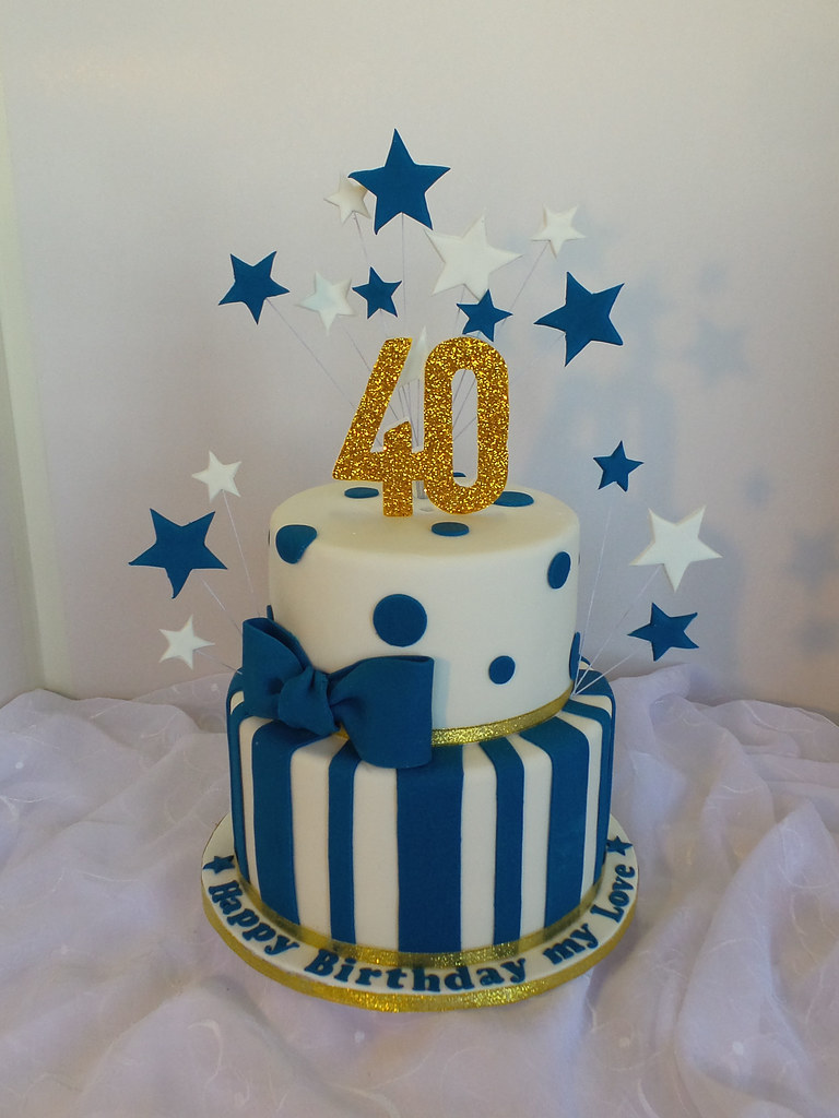 Peachy 40Th Two Tier White Navy Blue And Gold Birthday Cake Flickr Funny Birthday Cards Online Inifodamsfinfo