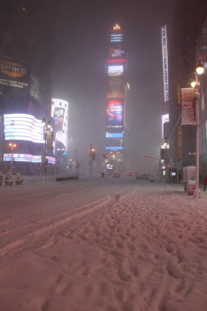 Times Square New York City During Snow Storm