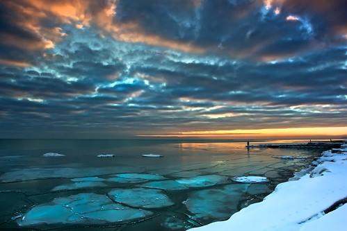 winter sunset snow ice landscape day fort shoreline lakemichigan sheridan openlands 5dmarkii pwwinter