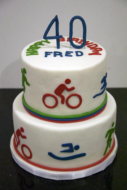 2 tier triathlon birthday cake