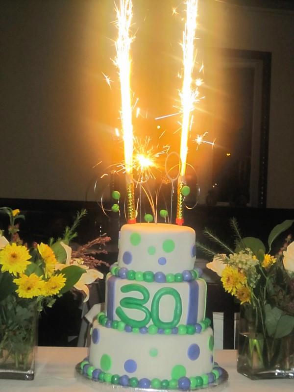Awe Inspiring Polka Dot 30Th Birthday Cake With Sparklers Thesweetes Flickr Funny Birthday Cards Online Inifodamsfinfo