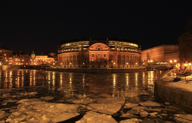 The Riksdag building Stockholm by night