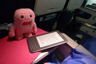 Lisetta reads the kindle on the plane | by simone.brunozzi