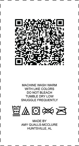 I put together a care label, complete with QR code, and have ordered a yard of this fabric from spoonflower.com. I've gotten lots of questions about how to care for the quilts I've given people, and I needed to have a permanent solution that both answered the care questions as well as provided historical info about each quilt.