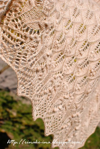 Wavy leaves and butterflies shawl by Athanasia 2 | by Rinako Ina