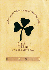 1947 - St Patricks Day Menu, Camp Glasenbach Officers Club