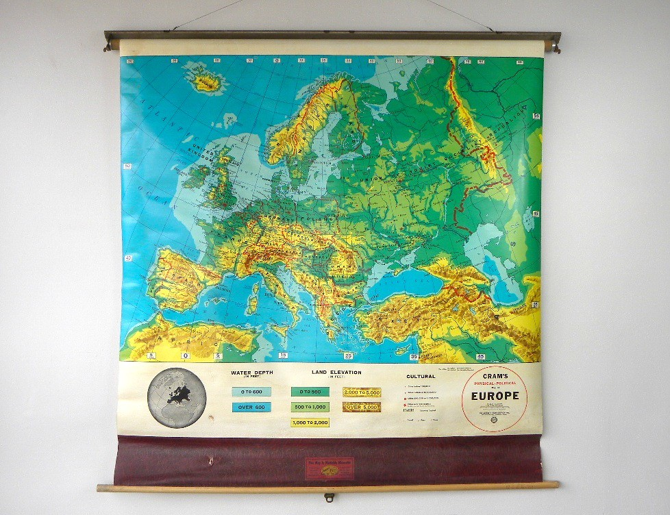 Vintage Cram\'s Pull Down Map of Europe, 1960\'s | CathodeBlue ...