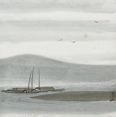 [ F ] Lin Fengmian - Seascape with boats and birds  / cea +