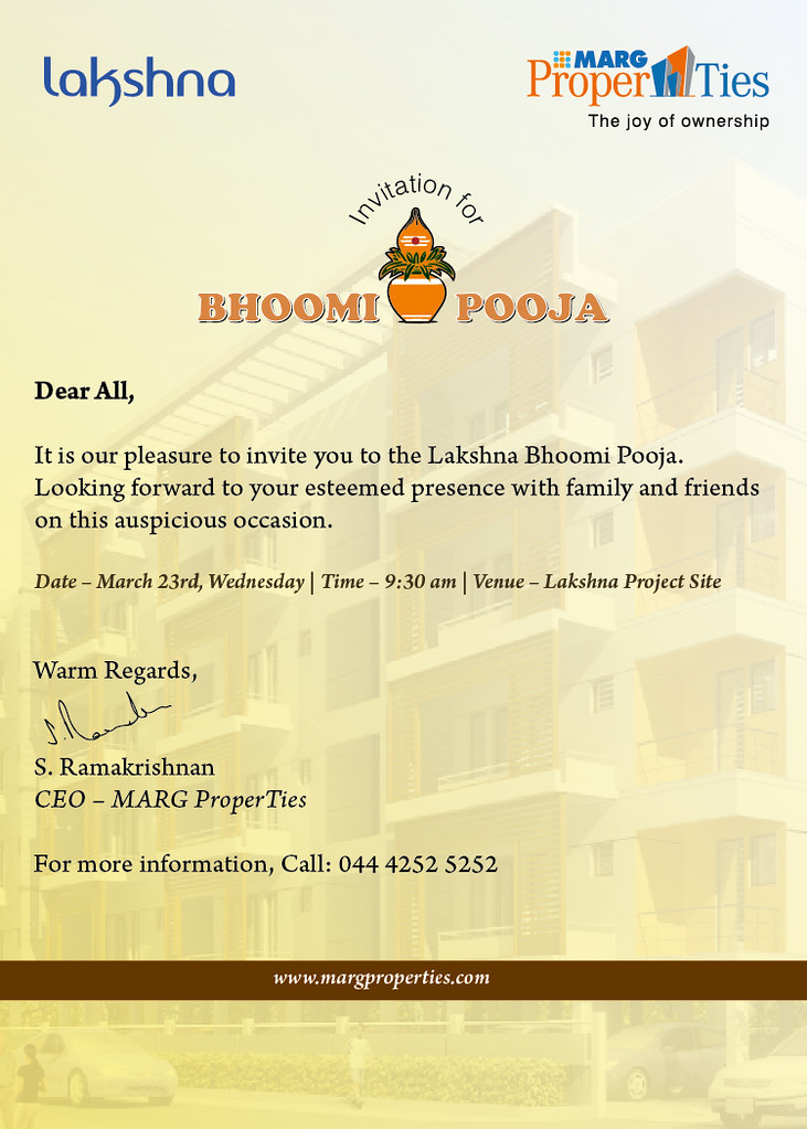 Bhoomi Pooja Invite It Is Our Pleasure To Invite You To La