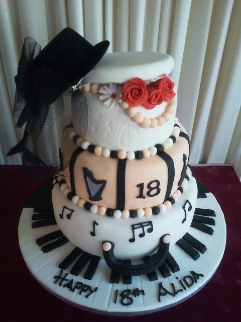 Musical Hat Box 18th Birthday Cake