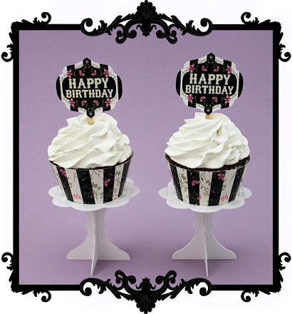 photo relating to Happy Birthday Cake Topper Printable referred to as Printable Delighted Birthday Cupcake Toppers Wrappers/Purple