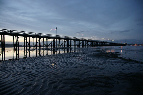 water sunrise pier sand bc whiterock
