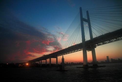 bridge sunset building japan night yokohama 夜景 nightscenes 橫濱